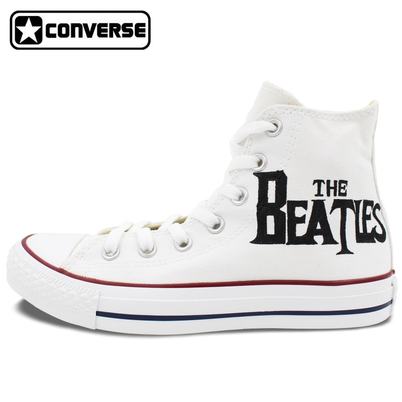Mens Womens Converse All Star Woman Man Shoes The Beatles Design Hand Painted High Top White
