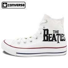 Mens Womens Converse All Star Woman Man Shoes The Beatles Design Hand Painted High Top White Canvas Sneakers Christmas Gifts