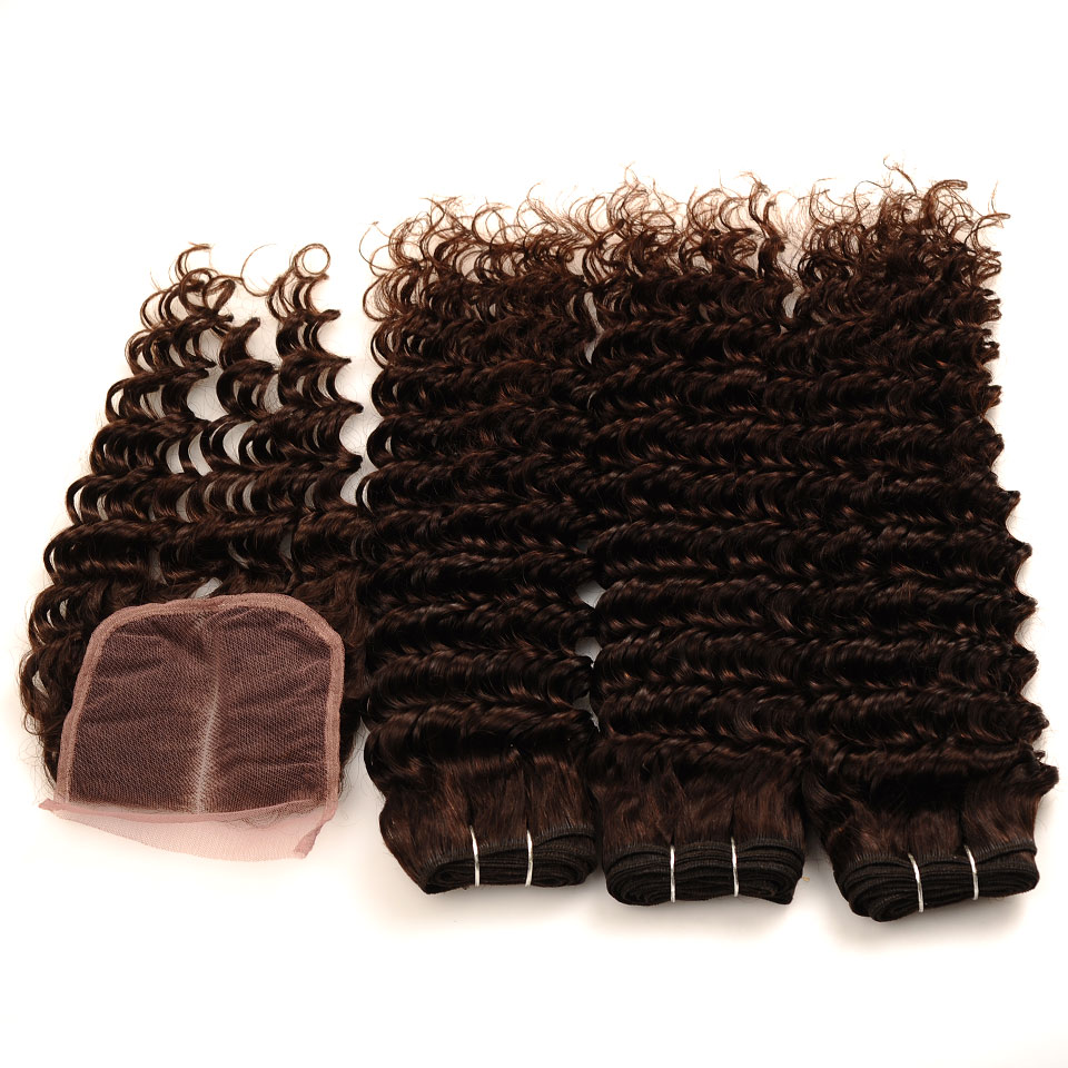 Pinshair Deep Wave Indian Hair 3 Bundles With Closure Brown Color 4 Non Remy 100 Thick Human Hair Weft Hair Bundles With Closure (49)