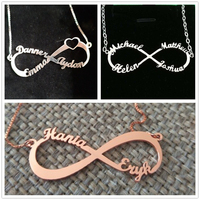 Women's Custom Infinity Name Necklace Letter Nameplate Silver 925 Infinite Symbol Pendant Necklaces Choker Chain for Best Friend
