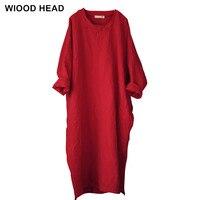 2017 Autumn Women Vintage Maxi Dress New Bat Sleeve Embroidery Cotton Linen Plus Size Robe Long