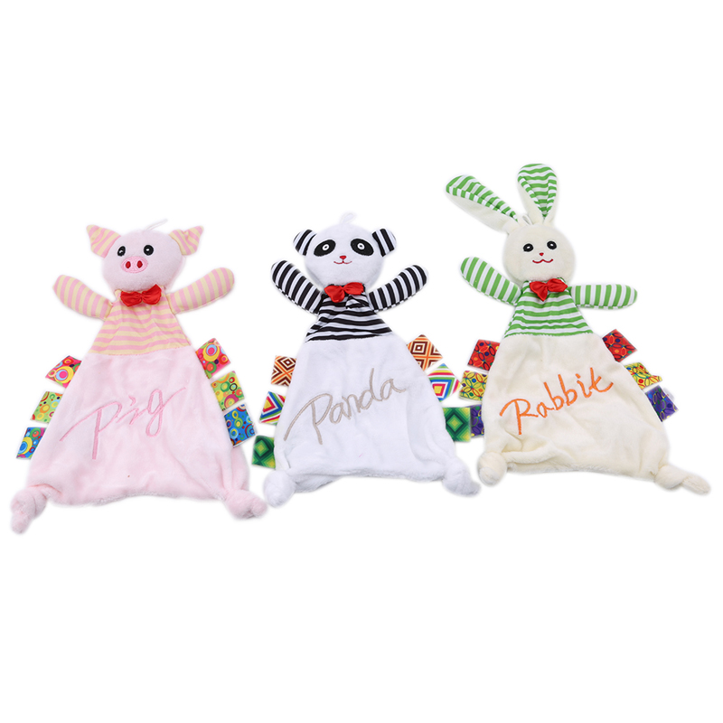 Newest Baby Rattle Child Plush Cute Cartoon Animal Doll Newborn Boys Girls Soothing Comfort Towel Bed Stroller Rattles Toys