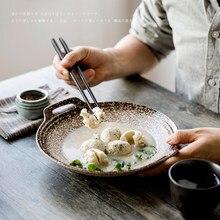 Kemik Çin Yemek Tabağı Yemek Takımı Moda Yaratıcı El Boyalı seramik çömlek Sofra Yuvarlak Bina Tabak Tabak Salata Tabağı