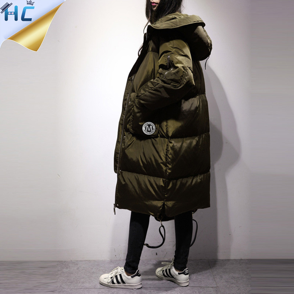 Warm Parka Women 2017 Korea Fashion High Quality Hooded Big Pocket Loose Thicken Long Down Feather Black Plus Size Winter Coat