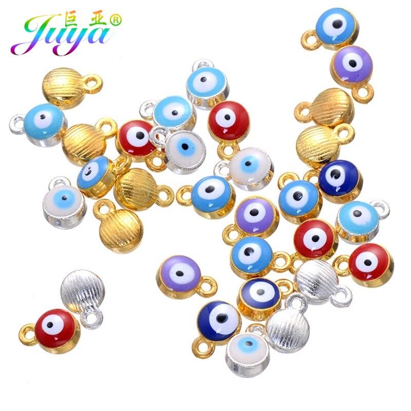 Großhandel Bösen blick Schmuck Erkenntnisse Gold/Silber Farbe Emaille Blau Bösen blick Perlen Charme Zubehör Für Schmuck DIY Herstellung