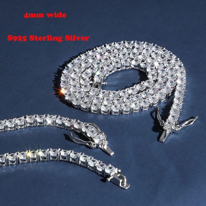 S925 argent Sterling 4mm 1 rangée CZ pierre Tennis chaîne collier femmes mode colliers hommes Hip Hop Bling glace Out rappeur bijoux