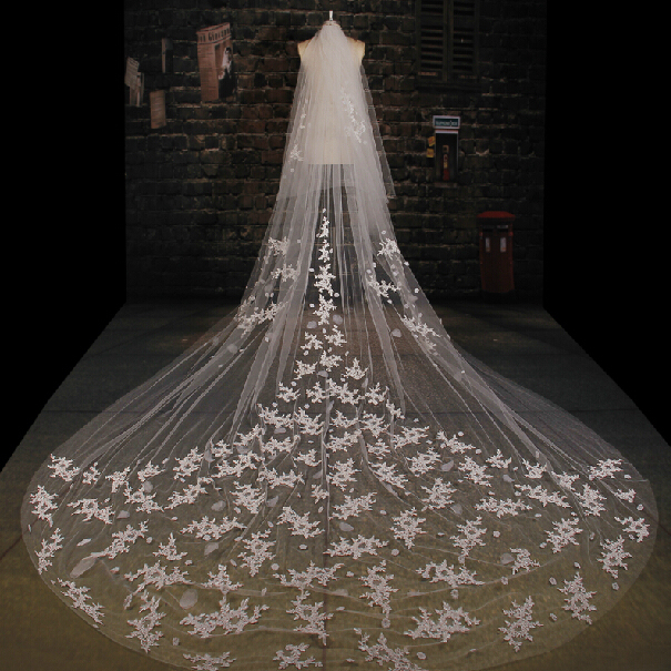 2015 Top Quality Appliqued One-Layers Bridal Veils 3.5M Wedding Veil long White wedding accessories WV-1007