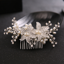 TUANMING Elegant Handmade Vintage Silver Large Floral Bridal Hair Comb Wedding Tiara Pearl Women Jewelry Accessories Hair Comb