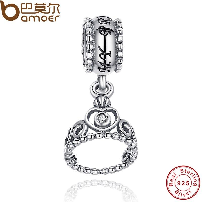 Prix pour Authentique 925 Sterling Argent Mon Princesse Effacer CZ Pendentif Balançant Diadème Charme Fit Bracelet Fabrication de Bijoux PAS014