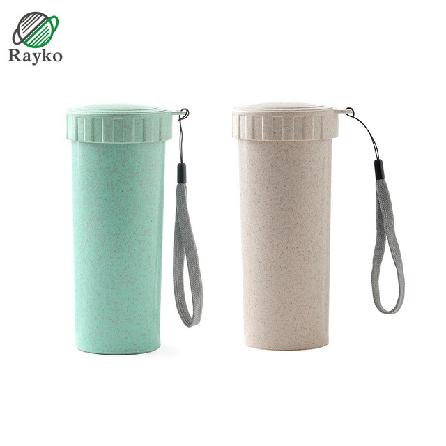 7e563dd37fe US $7.14 30% OFF|Creative Wheat Straw Student Water Bottles Plastic  Portable Travel Water Bottle Cute Mini Couple Drinkware-in Water Bottles  from Home ...