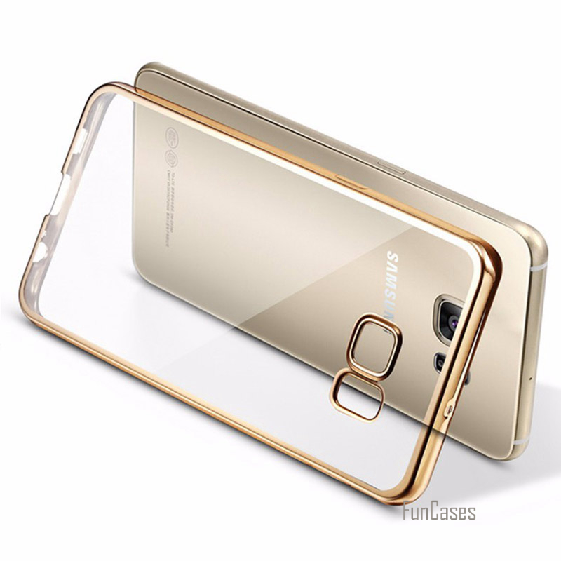 Luxury Plating Crystal Clear Case S7edge Transparent Ultra Thin TPU Soft Case for Samsung Galaxy S7 Edge Back Cover Phone Case