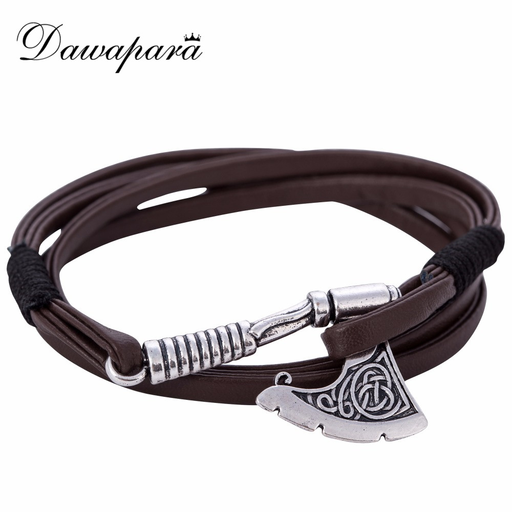 Dawapara Hot Selling Axe Wrap Bracelet Leather Accessories Slavic Perun Men Leather bangle Bracelets men Jewelry 2017
