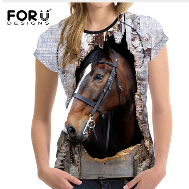 4eeceffa FORUDESIGNS 3D Horse Printed Women T Shirt Summer Short Sleeved T-shirt  Woman Crop Tops Soft Bodybuilding Slime Tees Lady Shirts