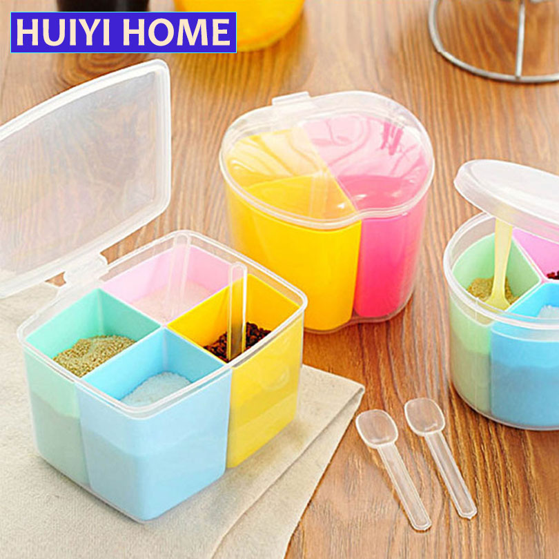 huiyi home 3 styles plastic seasoning storage jars kitchen organizer accessories detachable pepper spice boxes with - Kitchen Storage Containers