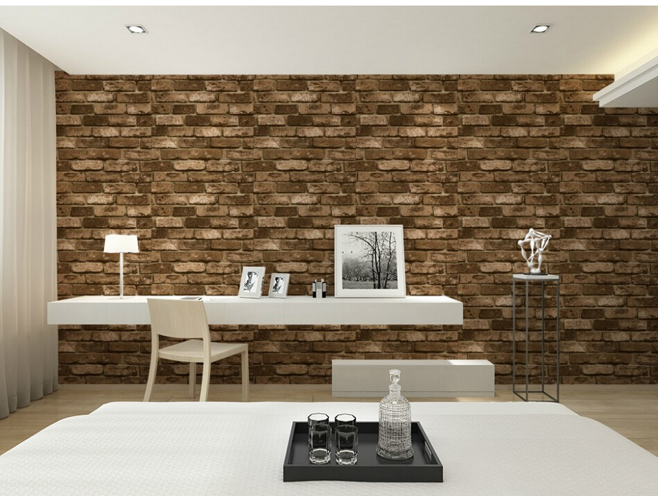 Wohnwand design stein  3D Vinyl Vintage Shabby Brick Stone Design WallpaperTV background ...