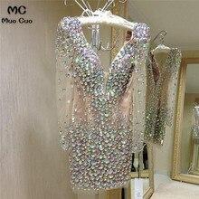 Блестящие иллюзионные вечерние платья с длинным рукавом для выпускного вечера, украшенные кристаллами и глубоким v-образным вырезом, официальное вечернее платье для женщин