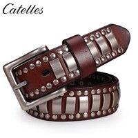 Catelles Hand Made Revit Decoration Genuine Leather Belt Hand Made Rivet Belt For Jeans For Men