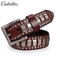 Catelles Hand Made Revit Decoration Genuine Leather Belt Hand Made Rivet Belt For Jeans For Men