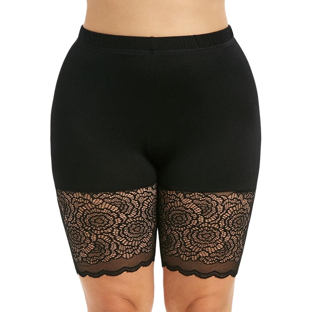 Womens Ladies Stretchy Bike Tights Hot Pants Neon Lace Trim Pyjama Wear Shorts