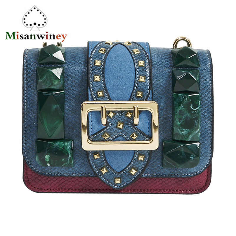 Acrylic Diamond Design Women Messenger Bag Chain Serpentine Pattern Genuine Leather Bag Famous Brand Designer Handbag Green Blue