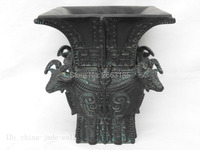 Chinese Antique Imitation Bronze Phoenix Bird Pattern Round Ding Living Room Crafts Three Foots Collection
