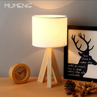 Modern Creative Simple Wood Desk Lamp With Fabric Shade E27 LED Table Lamp for Bedroom Living Room Study Room Cafe Hotel