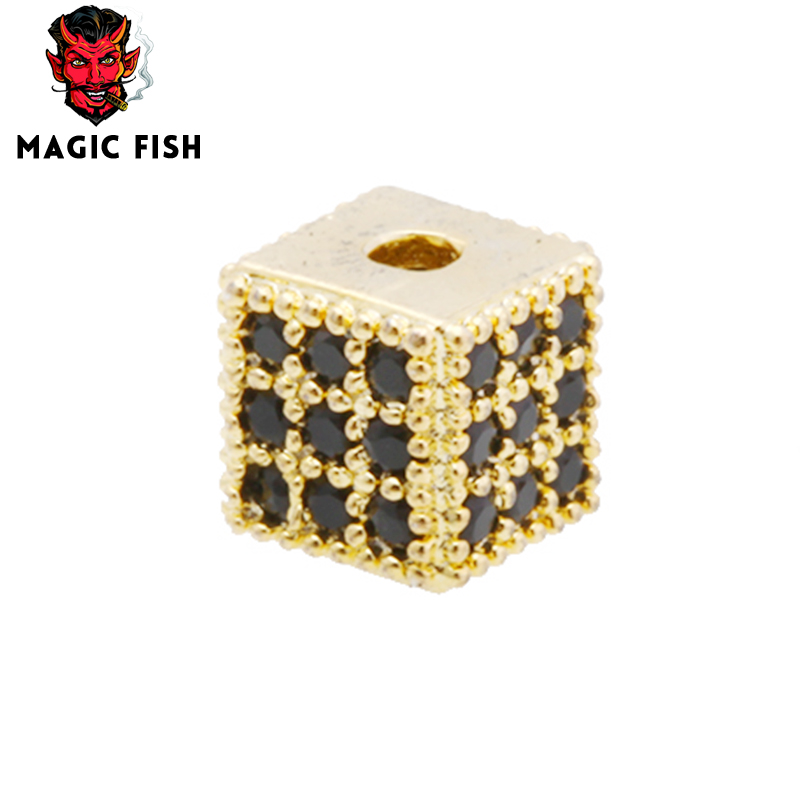 Frugal Magic Fish Cube Beads Copper Inlaid Black Zircon Diy Crafting Bracelet&necklace Jewelry Accessories Wholesale Choker Kolye Bts For Fast Shipping Beads Jewelry & Accessories