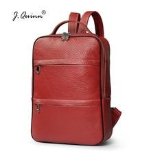 J.Quinn Fashion Backpacks Genuine Leather School Backpack Male Female Bags Zipper Laptop Doucment Mens Womens Back Packs Red New