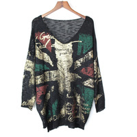 Punk rock Autumn new fashion V neck hole hollow out full sleeve Puls size sweater womens tops Streetwear outwear tops