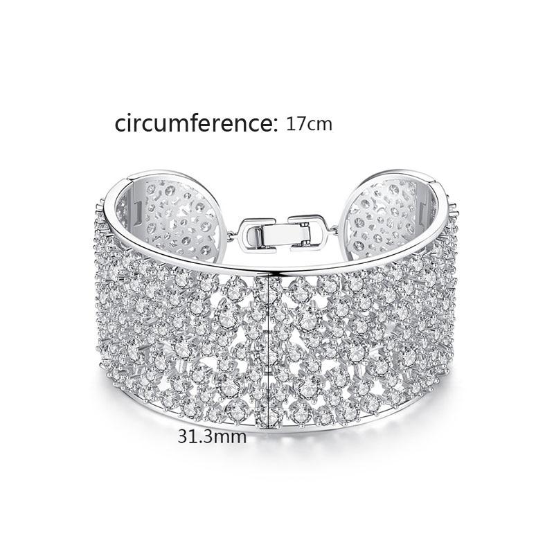New Zirconia CZ Snake Shaped Bangle For Women White Gold Filled Party Bracelet