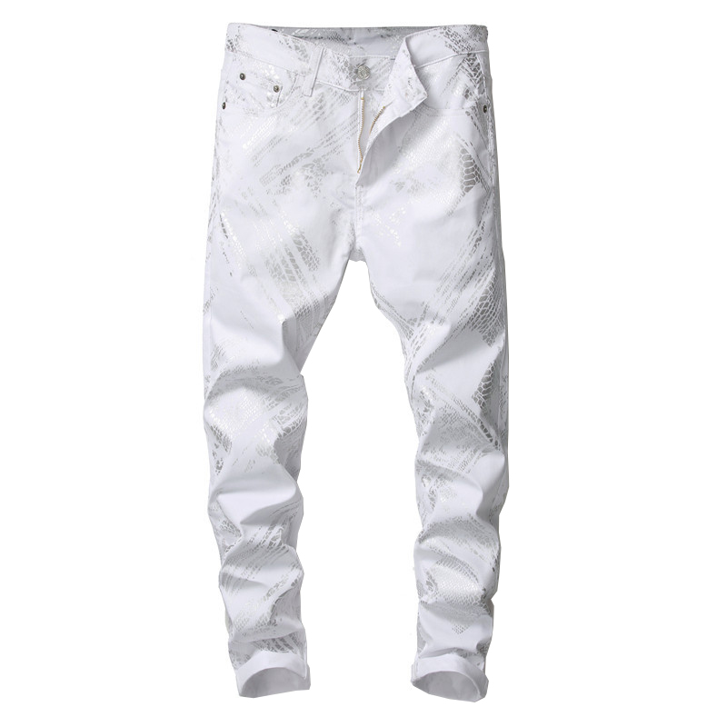 Sokotoo Men's Silver Snake Skin Printed White Jeans Fashion Slim Fit Stretch Denim Pants