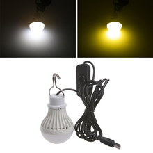Portable USB LED Light Bulb Switch LED Camping Lantern Tent Lighting 5W Dimmable Lamps(China)