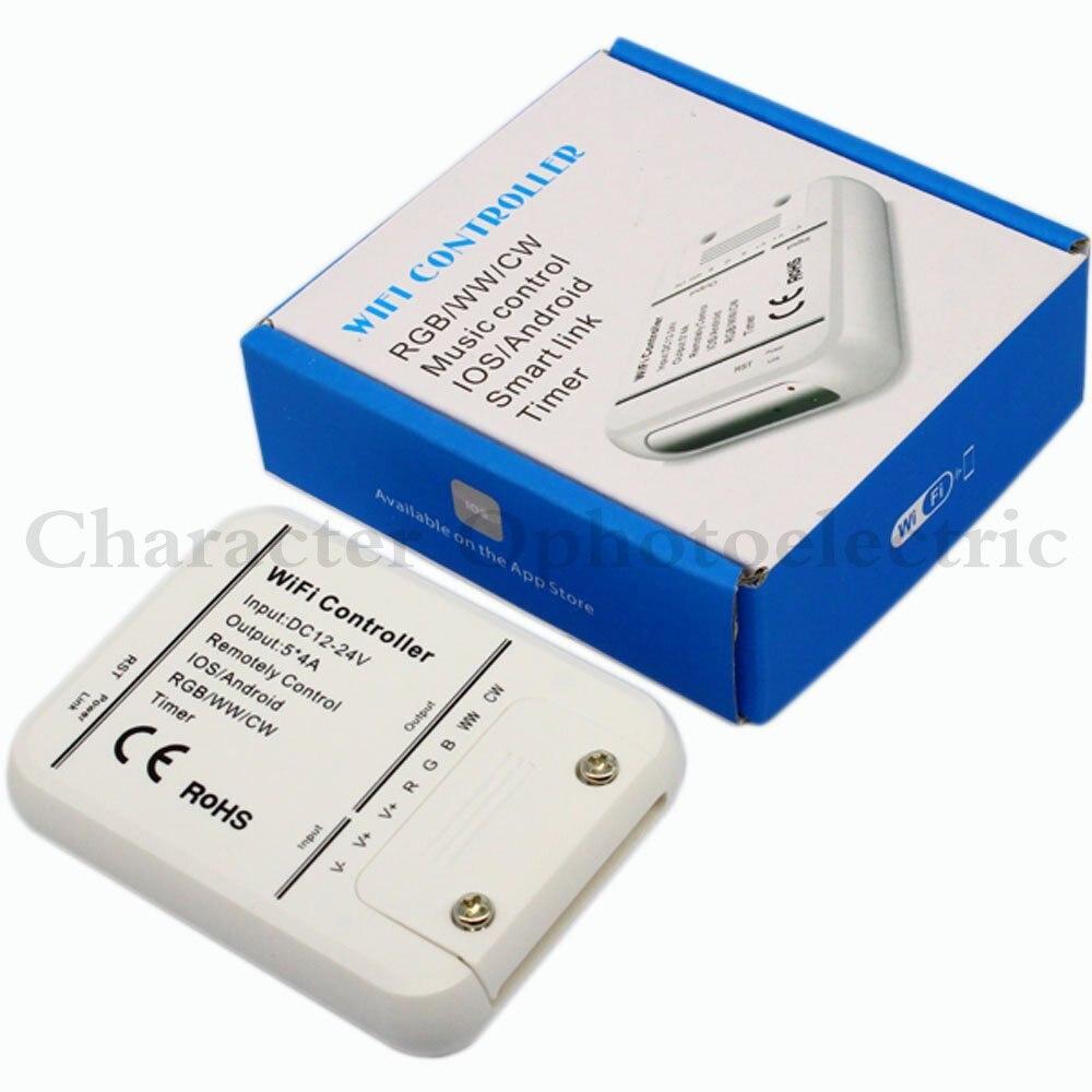 Contrôleur de WIFI de DC12-24V 4A * 5CH rvb/WW/CW LED IOS Android contrôleur intelligent de contrôle de musique de minuterie de lien rvb