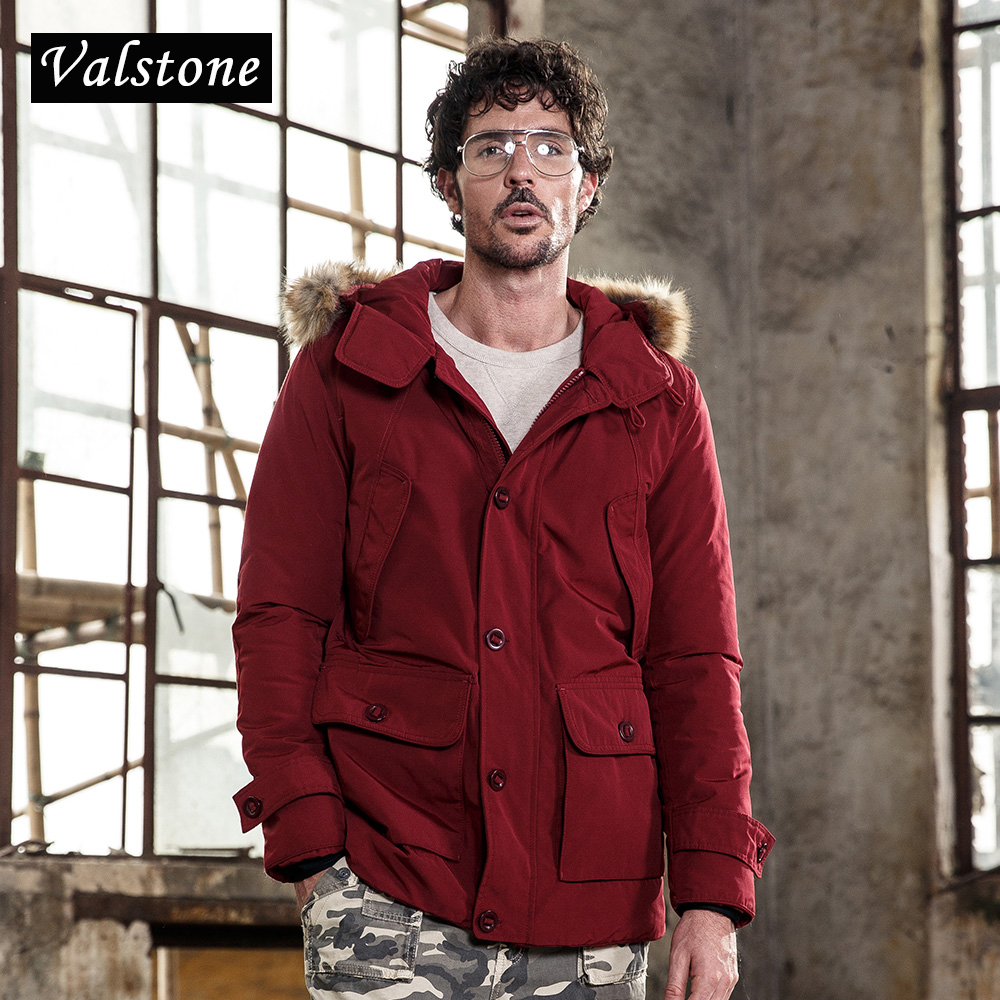 Valstone 2017 New Winter Fashion Coats Men Warm Thicken Parkas Warm Slim Fit Brand Clothing fashion Down jackets Hooded velvet