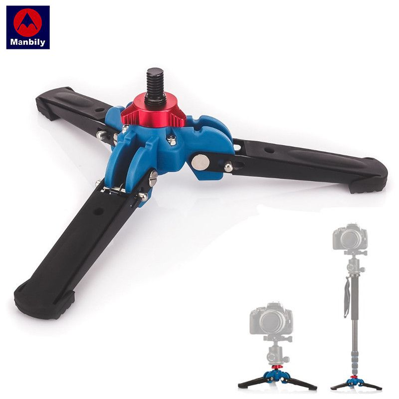 Manbily M-1 Hydraulic Universal Mini Three Feet Support Tripod Stand Base Monopod Stand for Monopod Ballhead with 3/8 screw
