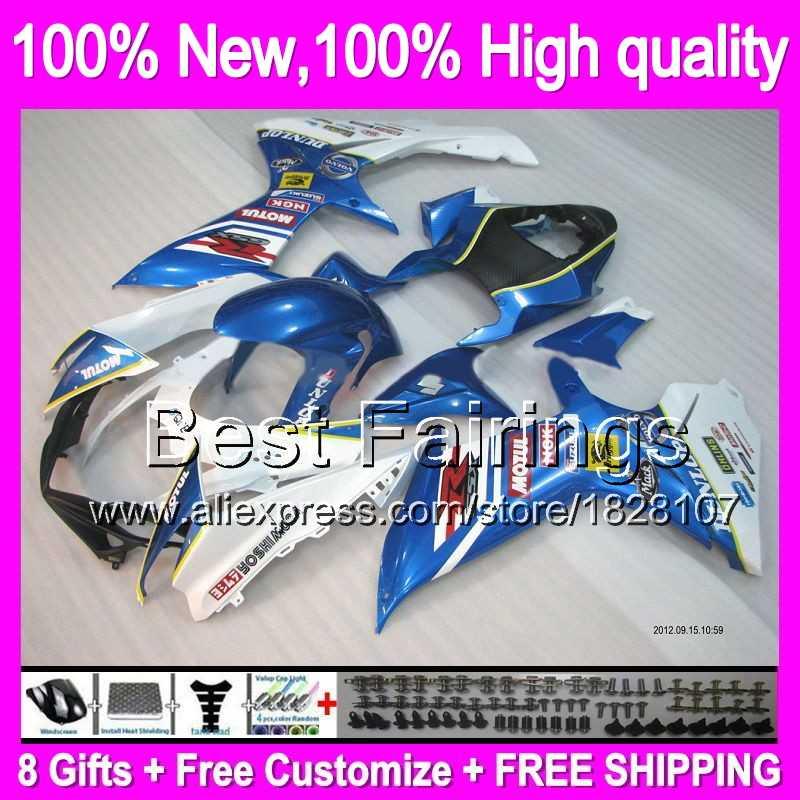 Fairing Biru putih Untuk SUZUKI GSXR600 11 12 13 14 GSX-R750 8B514 GSXR 600 750 K11 11-14 BARU Biru 2011 2012 2013 2014 + Decal