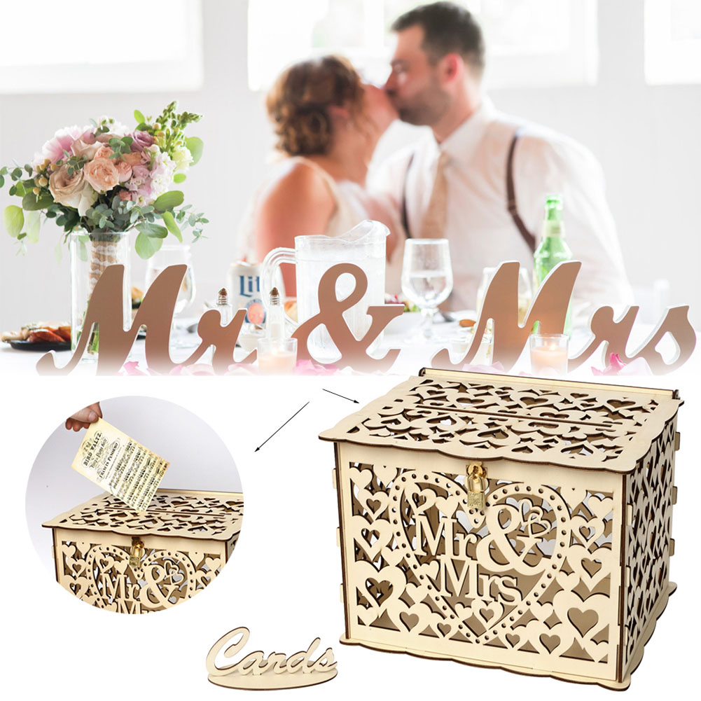 DIY Wooden Hollow Wedding Card Box With Lock Party Decoration Supplies Commemorative Gift #5
