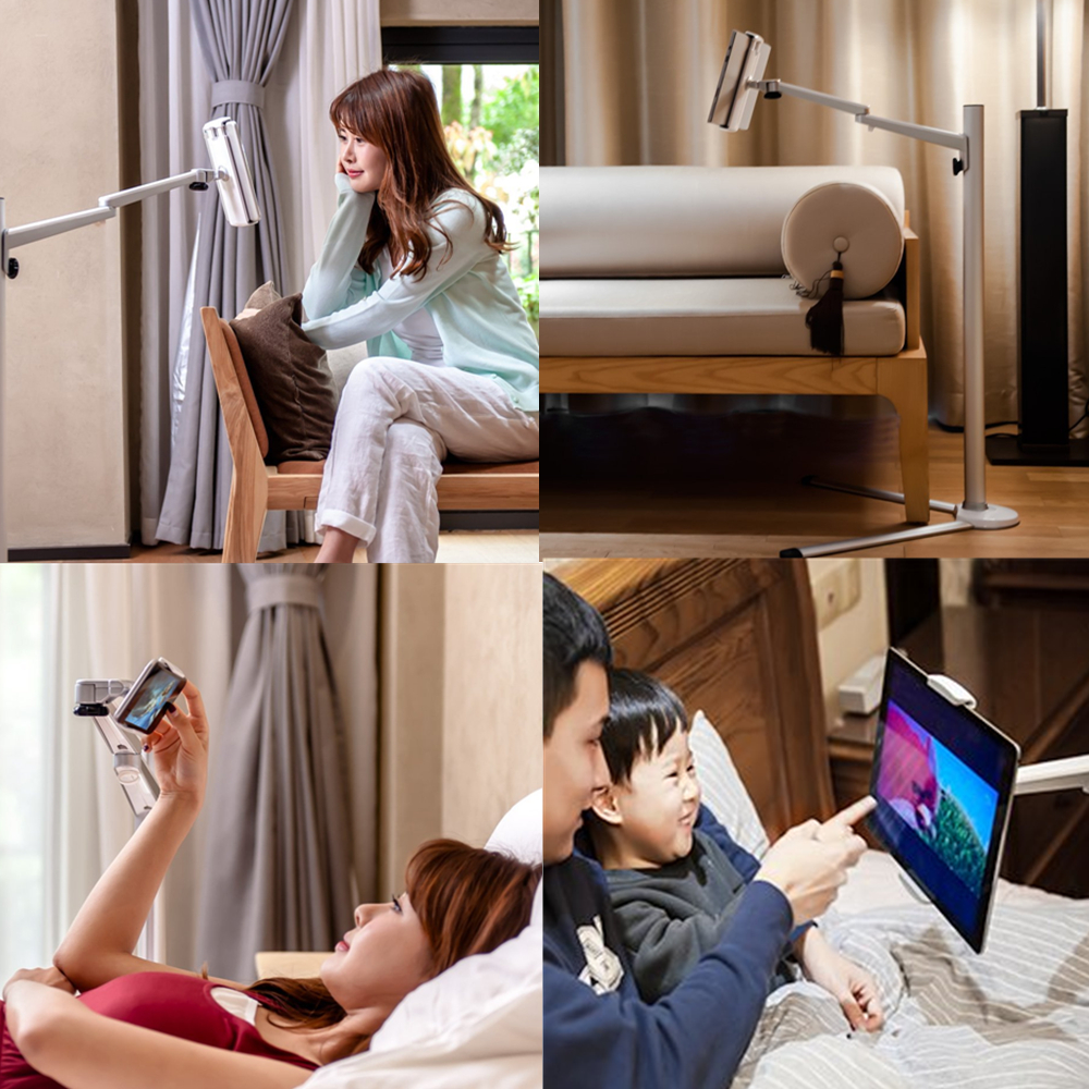 Tablet Floor Stand Aluminum Height Adjustable Mobile Phone Bed Sofa Holder Arm Rotation for iPhone X iPad Pro Air Mini 7-13 inch