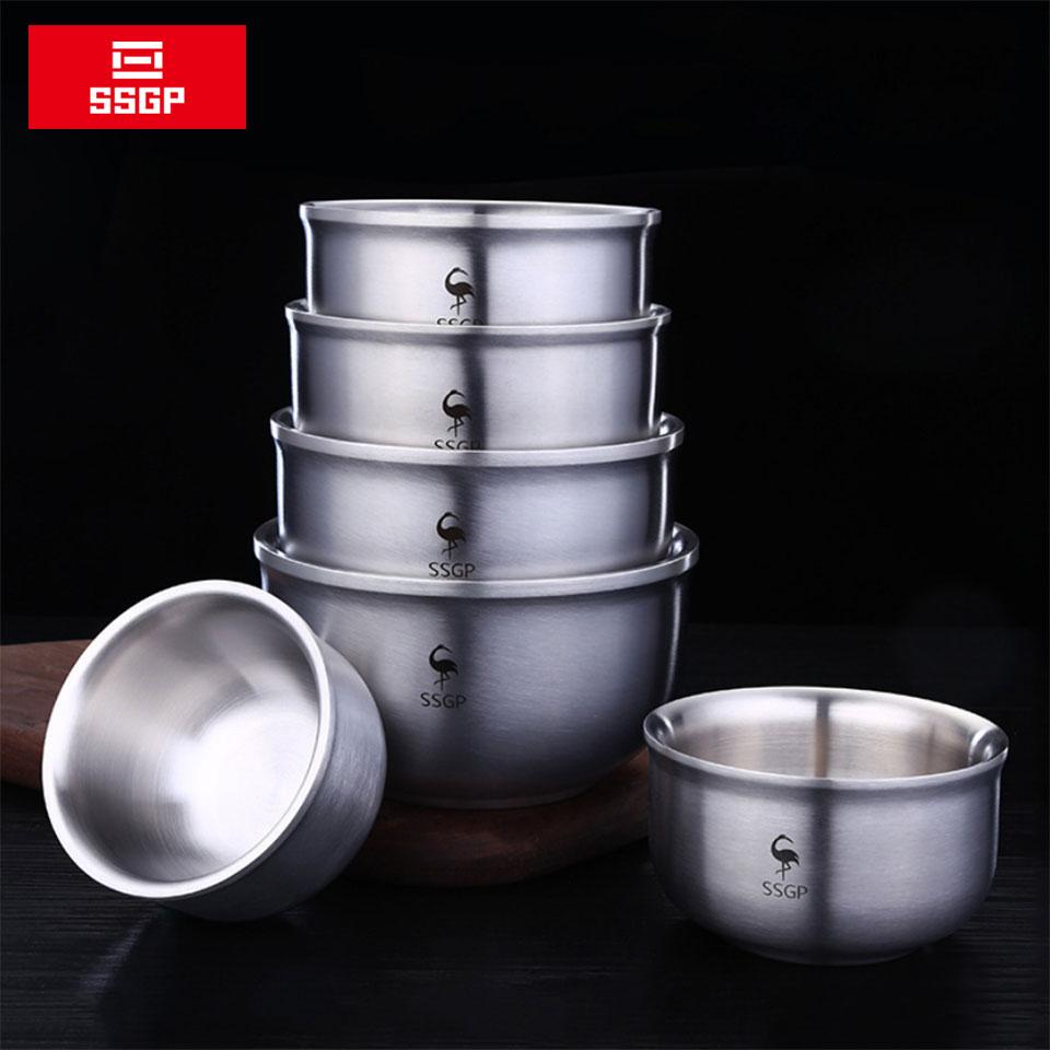 SSGP 304 Stainless Steel Bowl Double Anti-Scalding Food Container Korean Rice Salad Bowl Ramen Instant Noodles Soup Bowl Metal