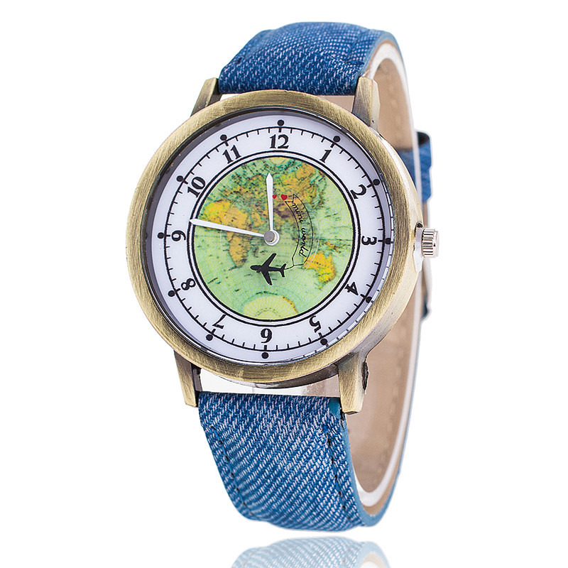 Fashion Global Travel By Plane Map Denim Fabric Band Watch Casual Women Wristwatches Quartz Watch Relogio Feminino Gift 2017 new fashion tai chi cat watch casual leather women wristwatches quartz watch relogio feminino gift drop shipping