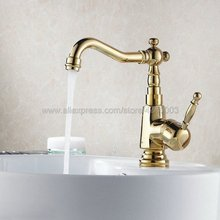 Gold Brass Deck mounted Single Handle Hole kitchen faucet Bathroom basin faucet sink Faucet Mixer Tap Kgf036 deck mounted nickle brushed brass kitchen faucet pull out sprayer vessel bar sink faucet single handle hole mixer tap