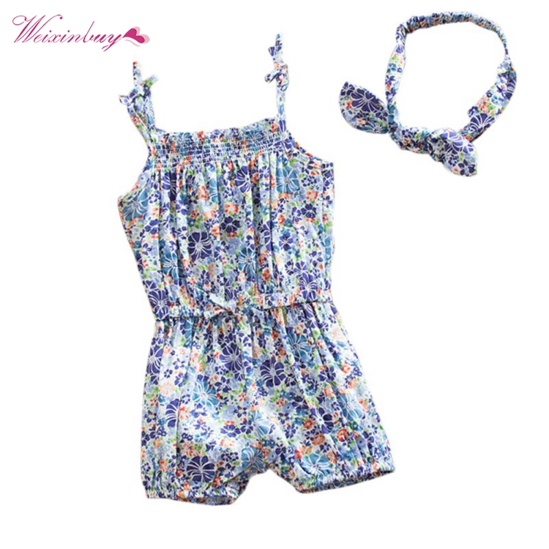 Toddler Kids Baby Girls Clothes Set Jumpsuit + Hairband Summer Flower Strappy Romper fashion 2pcs set newborn baby girls jumpsuit toddler girls flower pattern outfit clothes romper bodysuit pants
