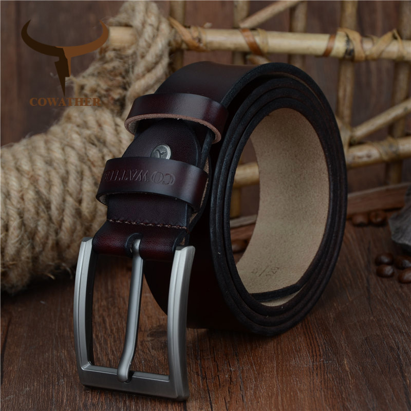 COWATHER Men   belt   2019 newest design cow genuine leather   belt   for men fashion classic male strap alloy pin buckle free shipping