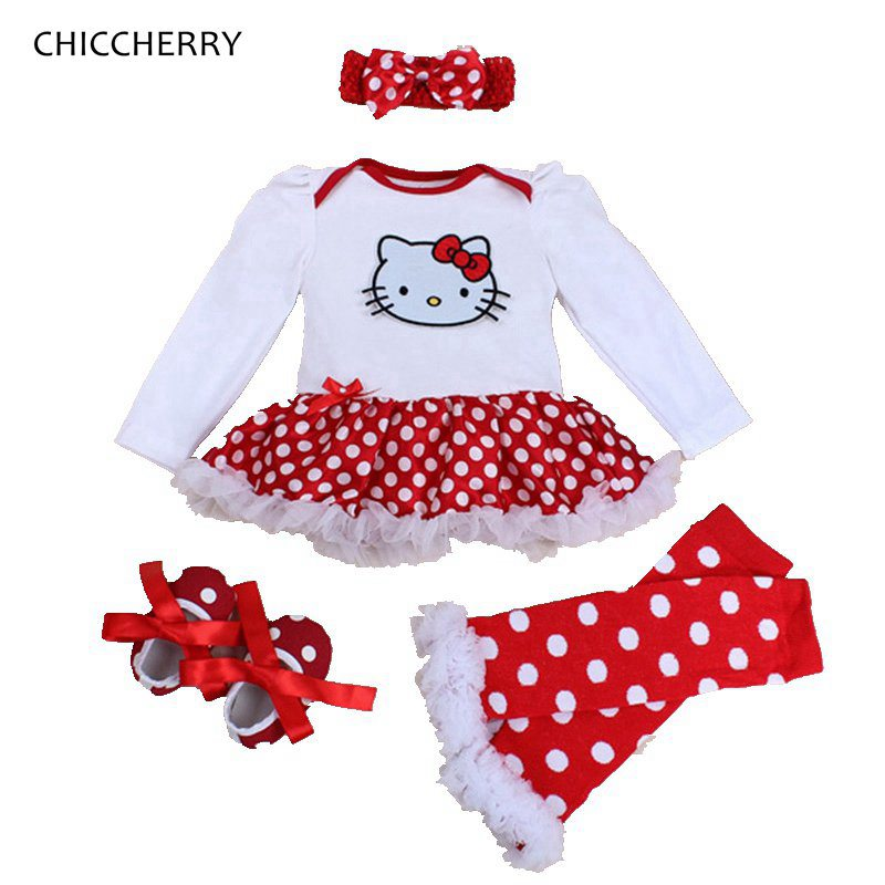 Spring 2018 Hello Kitty Baby Girl Clothes Romper Dress Legwarmers Headband Crib Shoes 4PCS Newborn Tutu Sets Infant Clothing