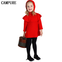 2016 New Hot Ins Fashion Baby Girl Woolen Dress 100 Cotton Flounced Ruched Hooded Customized Soft