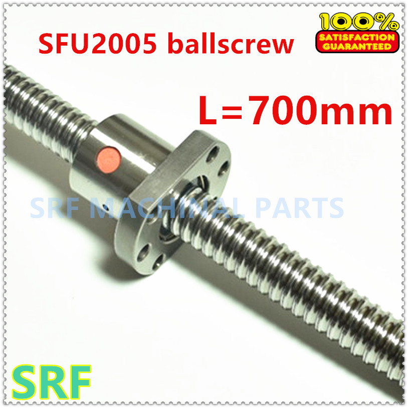 20mm RM2005 Ballscrew SFU2005 L=700mm Rolled Ball screw + single Ballnut without end machined for CNC part