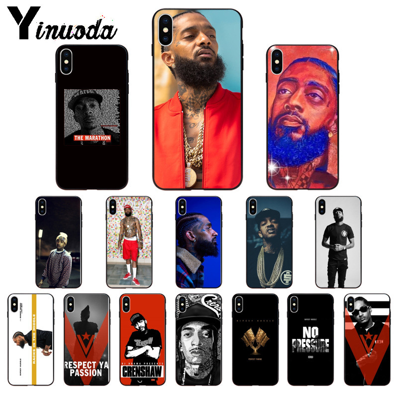 Yinuoda Rapper Nipsey Hussle Silicone TPU Soft Phone Case for Apple iPhone 8 7 6 6S Plus X XS MAX 5 5S SE XR Cover