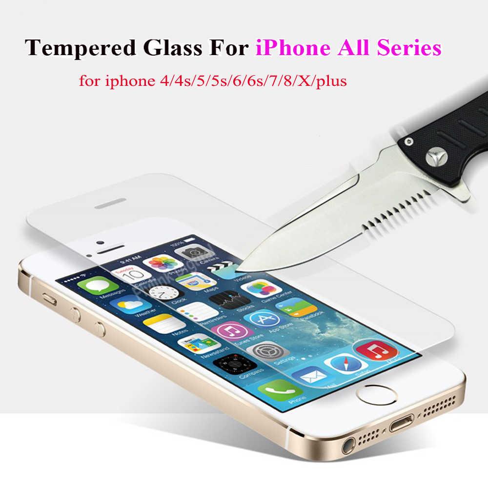 Kaca Pelindung Di UNTUK iPhone 5S Layar Pelindung Kaca Tempered Jika Film Kasus Caver untuk iPhone 5 6 S 7 8 X Se Plus Kaca
