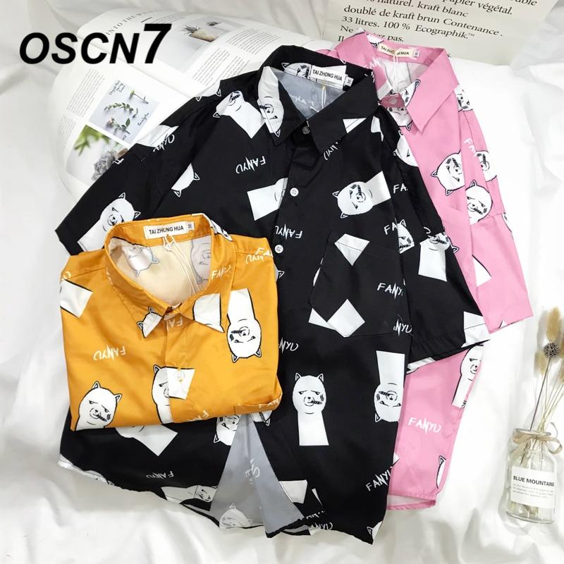 OSCN7 2019 Casual Printed Short Sleeve Shirt Men Street 2019 Hawaii Beach Women Fashion Short Sleeve Shirts Harujuku Mens 3012