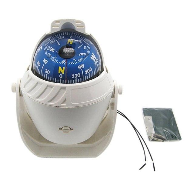 Bianco ABS LED Ad Alta Precisione Elettronico Della Luce Del Veicolo Auto Bussola di Navigazione Sea Marine Militare Auto Barca Nave Bussola VENDITA CALDA